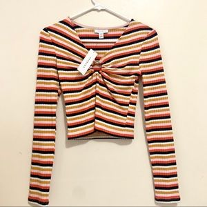 NWT Topshop Ribbed Stripes Colorful Sweater